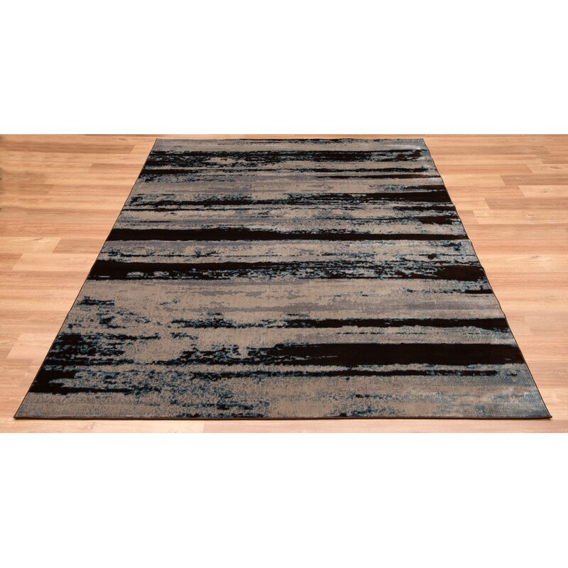 Williston Forge Evan Mushroom Striped Gray Brown Area Rug Wayfair