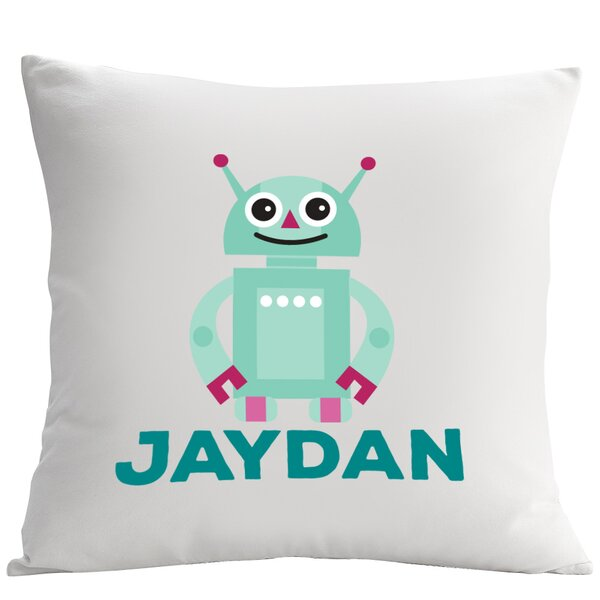 Personalized Friendly Robot Cushion Cover by Monogramonline Inc.