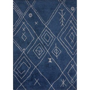 Price comparison Kerin Moroccan Handmade Blue/White Area Rug By Bloomsbury Market