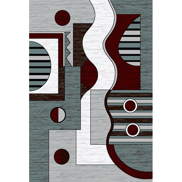 Mccampbell 3D Modern Contemporary Gray/Burgundy Area Rug by Ivy Bronx