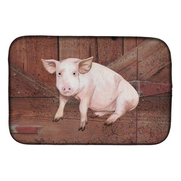 Pig at the Barn Door Dish Drying Mat by Caroline's Treasures