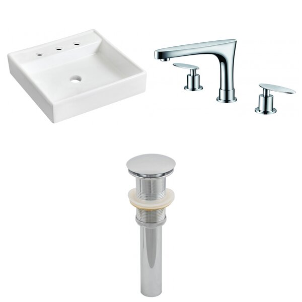 Ceramic Square Bathroom Sink with Faucet by American Imaginations