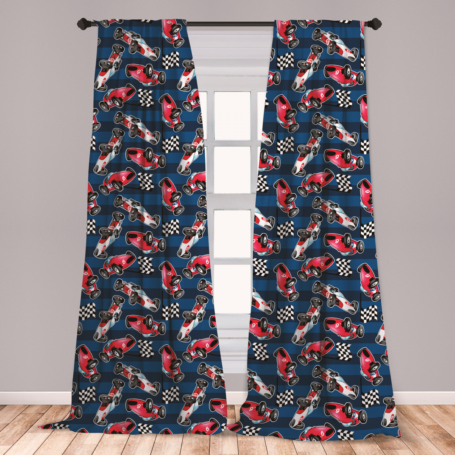 East Urban Home Ambesonne Cars Curtains Vintage Racing Cars On Blue Stripes With Checkered Flags Automobile Sports Window Treatments 2 Panel Set For Living Room Bedroom Decor 56 X 63 Navy Blue