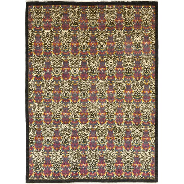 One-of-a-Kind Deven Hand-Knotted Wool Black/Red Indoor Area Rug by Isabelline