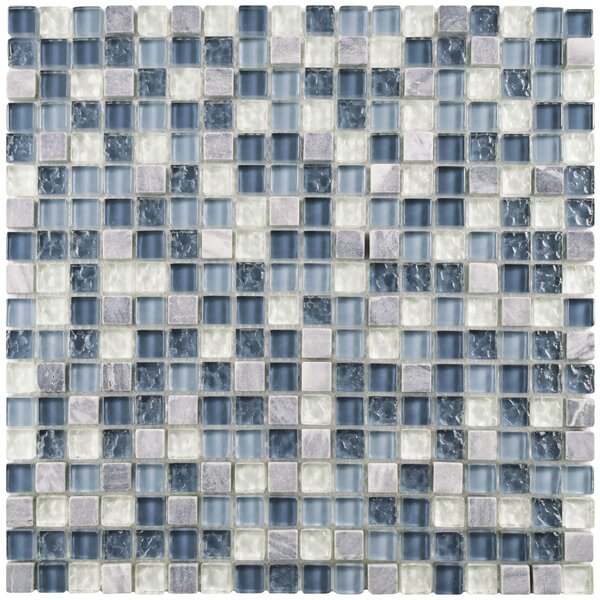 Sierra 0.58 x 0.58 Glass and Natural Stone Mosaic Tile in Blue/White by EliteTile