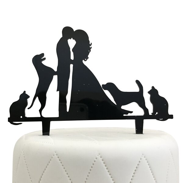 Bride, Groom, Two Dogs & Two Cats Silhouette Acrylic Cake Topper by Unik Occasions