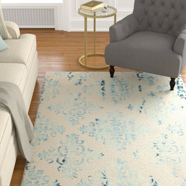 Carter Hand-Tufted Ivory/Light Blue Area Rug by Alcott Hill