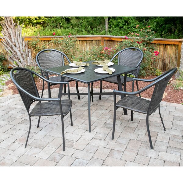 Bearden 5-Piece Commercial-Grade All-Weather Patio Set with 4 Woven Dining Chairs and a 38-In. Aluminum Slat-Top Dining Table by Charlton Home