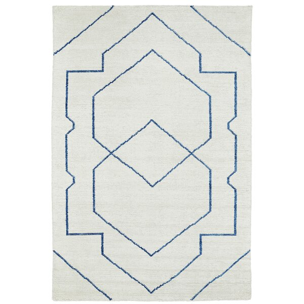 Aracely Hand Woven Ivory/Denim Blue Area Rug by Mercury Row