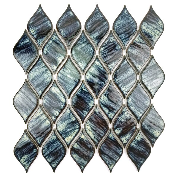 Monet Tiffany Lantern 12 x 12 Porcelain Tile in Dark Blue by Abolos