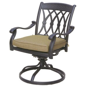 Carlitos Traditional Swivel Patio Dining Chair With Cushion