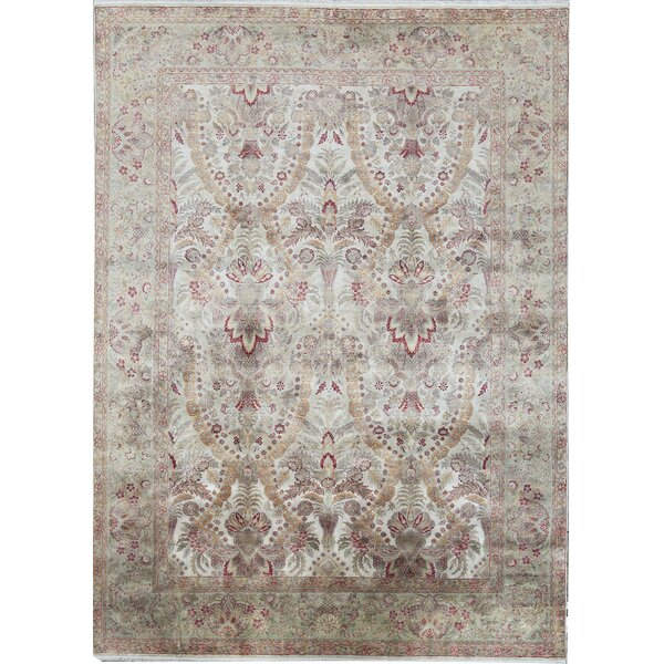 One-of-a-Kind Sona Hand-Knotted Ivory 9' x 12'4 Silk Area Rug