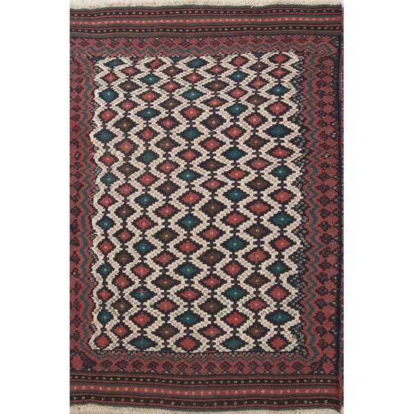 One-of-a-Kind Algol Geometric Tribal Qashqai Persian Hand-Knotted 4' 11'' x 7' 5'' Wool Beige/Ivory Area Rug by Isabelline