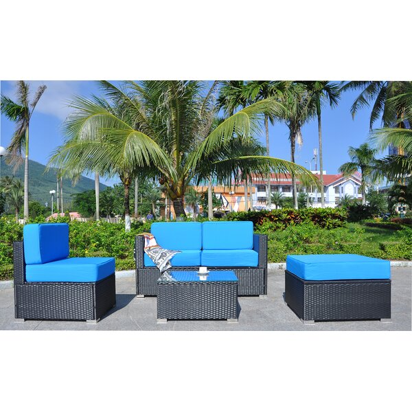 ShipstStour Outdoor All-Weather 5 Piece Sectional Seating Group with Cushions by Ivy Bronx