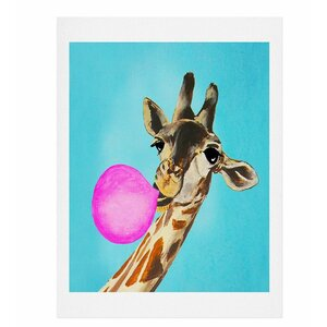 Giraffe Blowing Bubblegum Painting Print by East Urban Home