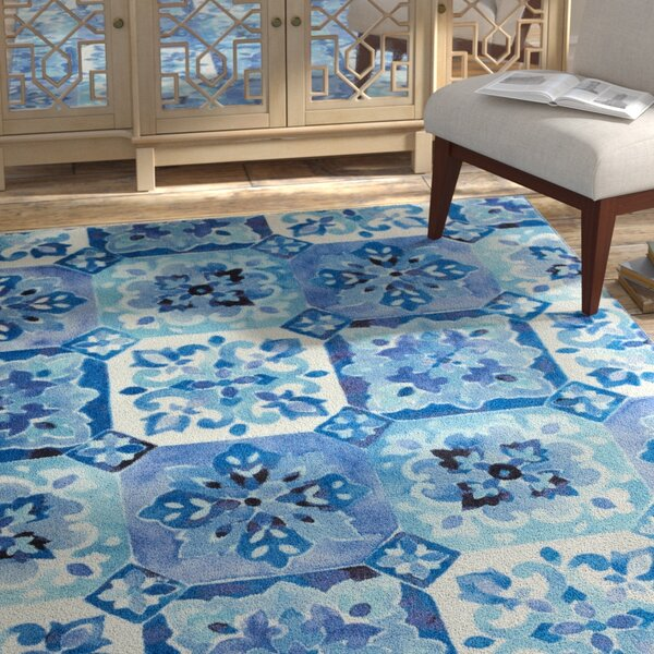 Amblewood Painted Tile Blue/White Area Rug by Bungalow Rose