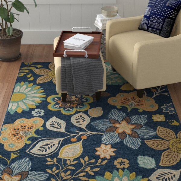 Doyle Hand-Hooked Navy Area Rug by Winston Porter