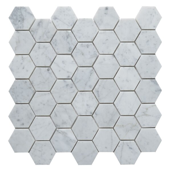 Carrara Hexagon 2 x 2 Marble Mosaic Tile in White by Matrix Stone USA
