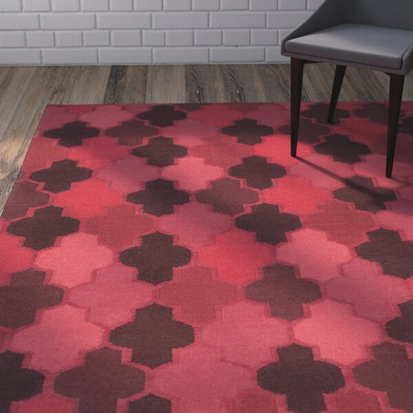 Crispin Cherry Geometric Area Rug by Wrought Studio