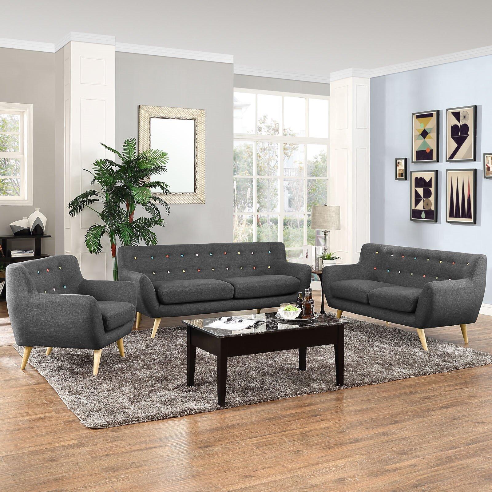 Stevie 3 Piece Living Room Set