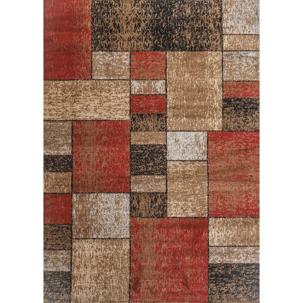 Clough Squares Red/Brown Area Rug by Ebern Designs