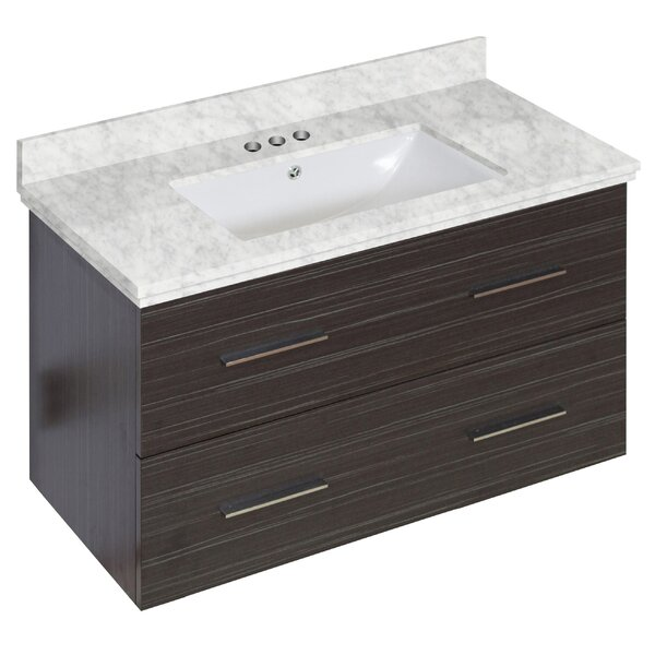 Phoebe Drilling Wall Mount 36 Rectangle Single Bathroom Vanity Set with Handles by Orren Ellis