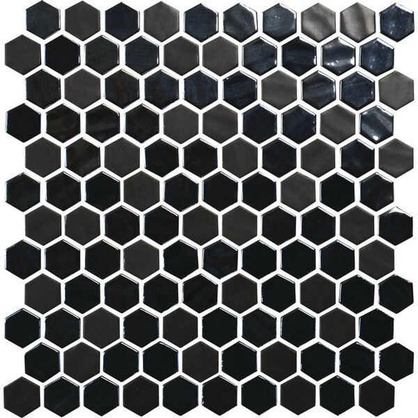 Lexington Random Sized Glass Mosaic Tile in Ebony by Itona Tile