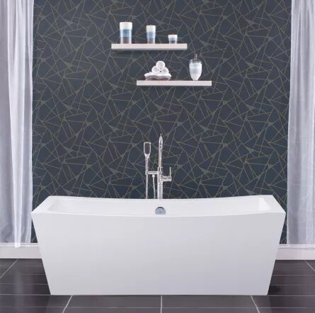35 x 34.25 Freestanding Soaking Bathtub with Center Drain by Miseno