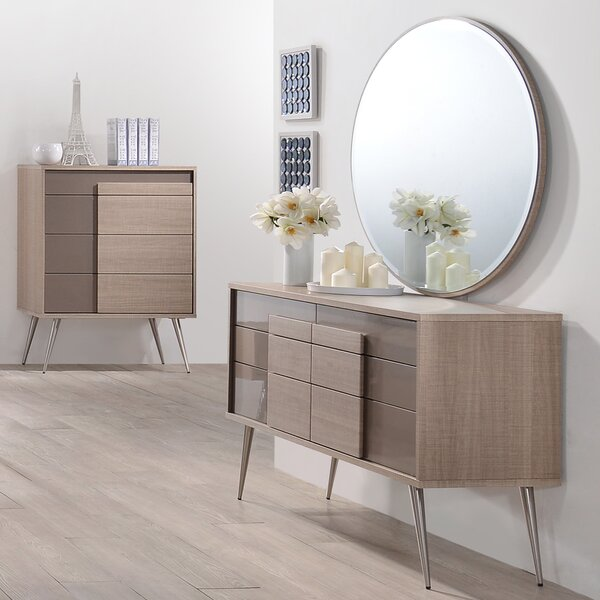 Brazil 6 Drawer Double Dresser with Mirror by BestMasterFurniture