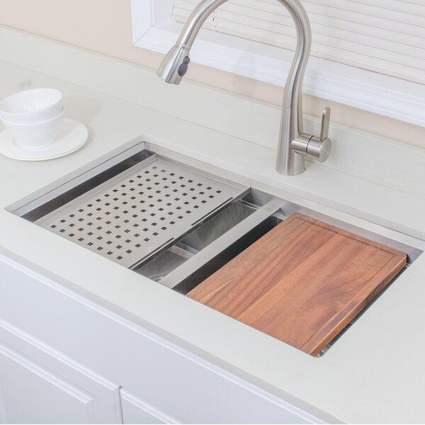 32 L x 19 W Double Basin Undermount Kitchen Sink with Basket Strainer by Wells Sinkware