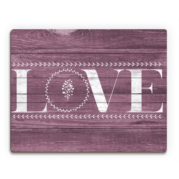 Floral Love Magenta Textual Art on Plaque by Click Wall Art