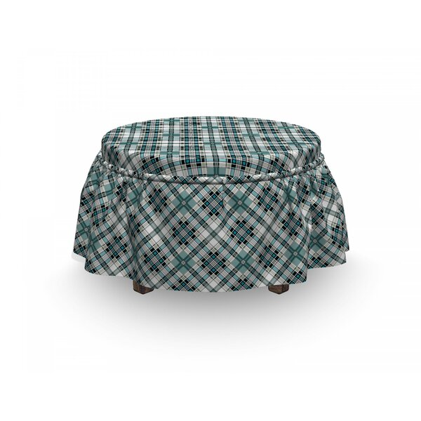 Checkered Modern Country Look 2 Piece Box Cushion Ottoman Slipcover Set By East Urban Home