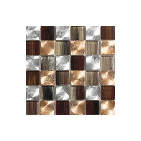 Pearl 12 x 12 Glass Mosaic Tile in Copper by Kellani