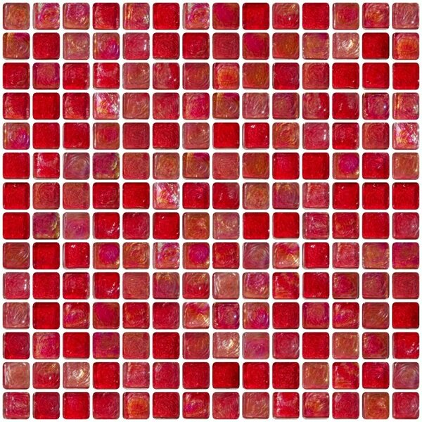 Iridescent 0.75 x 0.75 Glass Mosaic Tile in Red by Susan Jablon