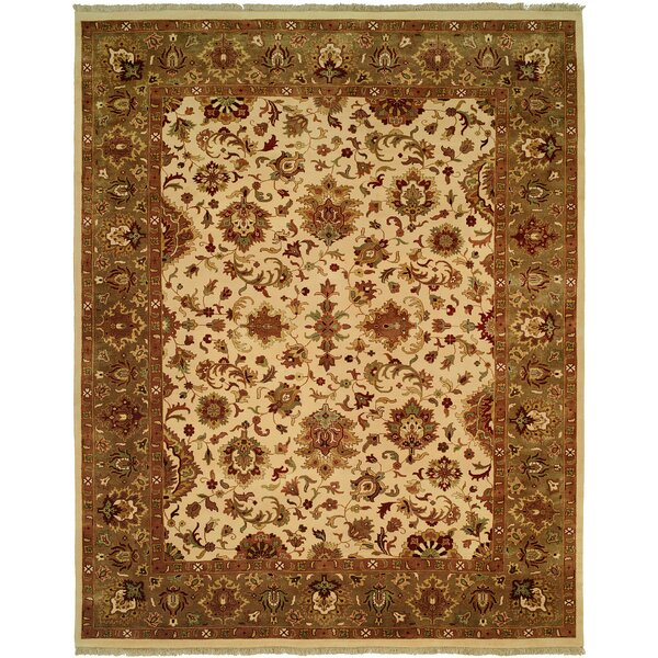 Hobart Hand-Woven Ivory/Green Area Rug by Meridian Rugmakers