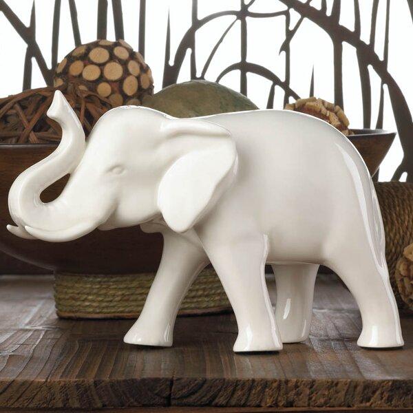 Sleek Ceramic Elephant Figurine by Bungalow Rose