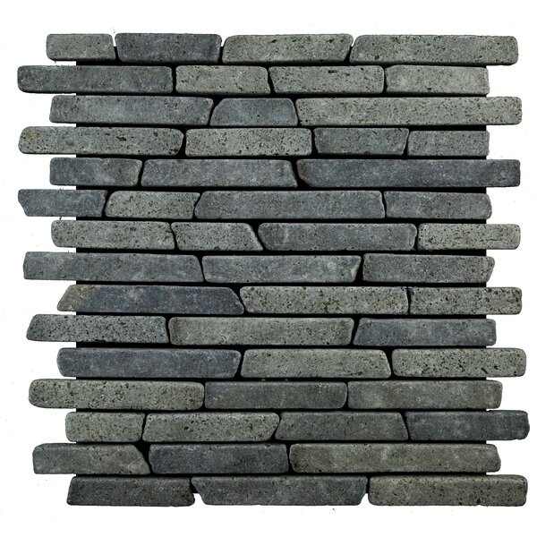 Sticks Random Sized Natural Stone Mosaic Tile in Black by Pebble Tile