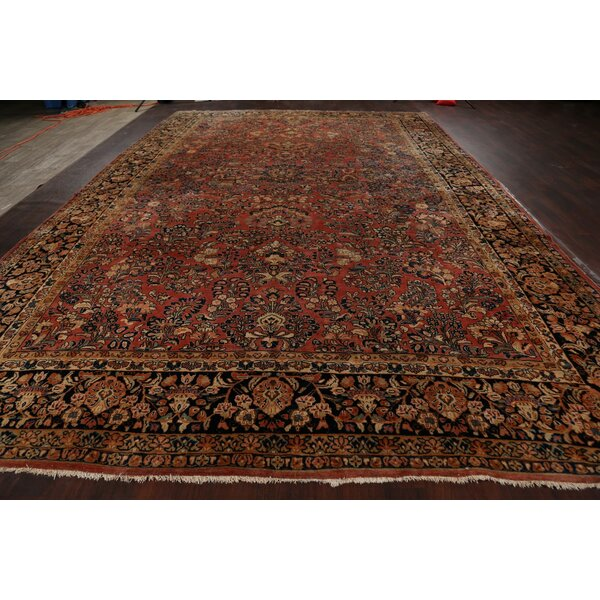 One-of-a-Kind Hand-Knotted 1920s Sarouk Rust/Brown 10'9 x 16'8 Wool Area Rug