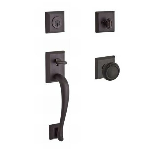 Napa Single Cylinder Handleset with Traditional Door Knob and Traditional Square Rose by Baldwin