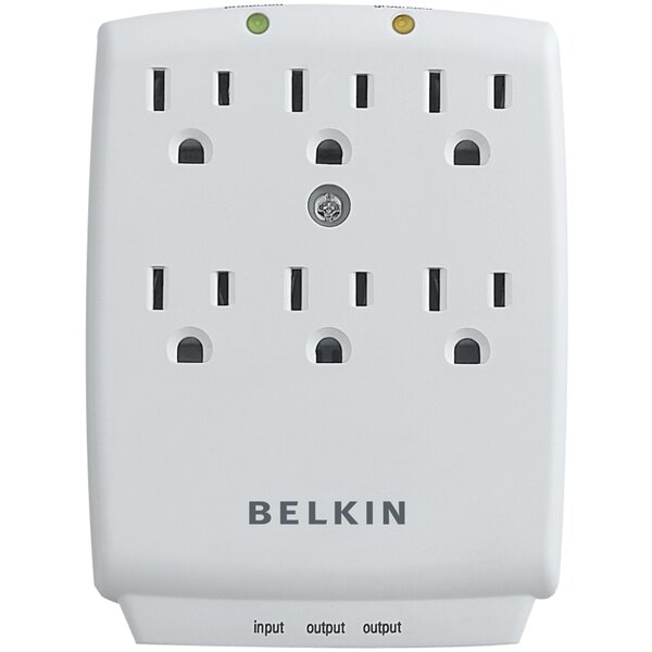 6 Surge Protector Wall Mounted Outlet By Belkin.