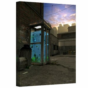 'Phone Booth' by Cynthia Decker Graphic Art on Wrapped Canvas by ArtWall