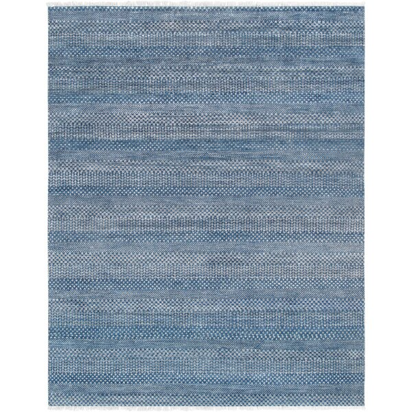 Transitiona Hand-Knotted Wool/Silk Blue Area Rug by Pasargad