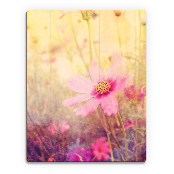 Wood Slats Cosmos Flowers Painting Print on Plaque by Click Wall Art
