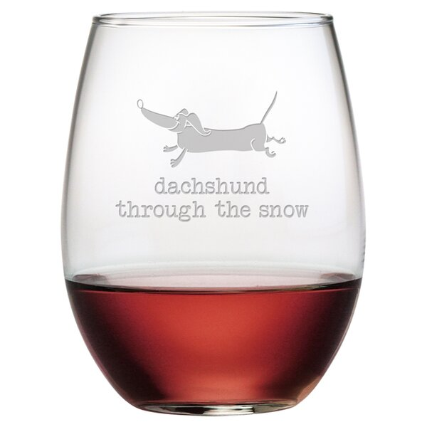 Dachshund Through Stemless Wine Glass by Susquehanna Glass