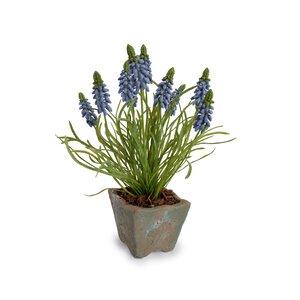Faux Grape Hyacinth Floral Arrangements in Pot