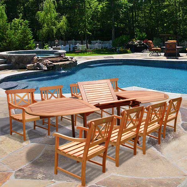 Cristian Patio 9 Piece Dining Set by Rosecliff Heights Rosecliff Heights