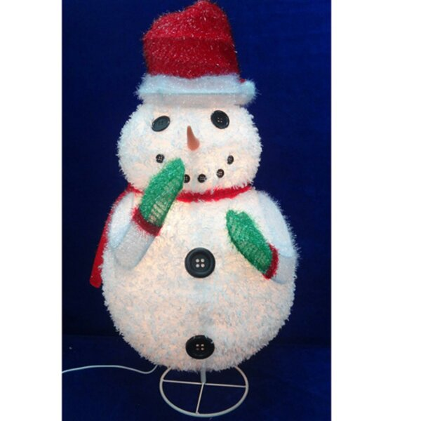 24 Chenille Snowman, Wearing Santa, Hat and Christmas Yard Art Decoration Lighted Display by The Holiday Aisle