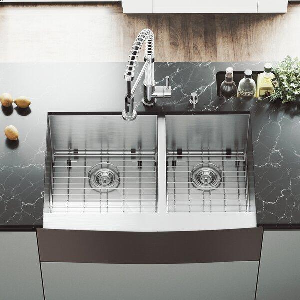 Alma 33 inch Farmhouse Apron 60/40 Double Bowl 16 Gauge Stainless Steel Kitchen Sink by VIGO
