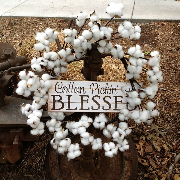 Faux Cotton Pickin Blessed 22 Wreath by August Grove
