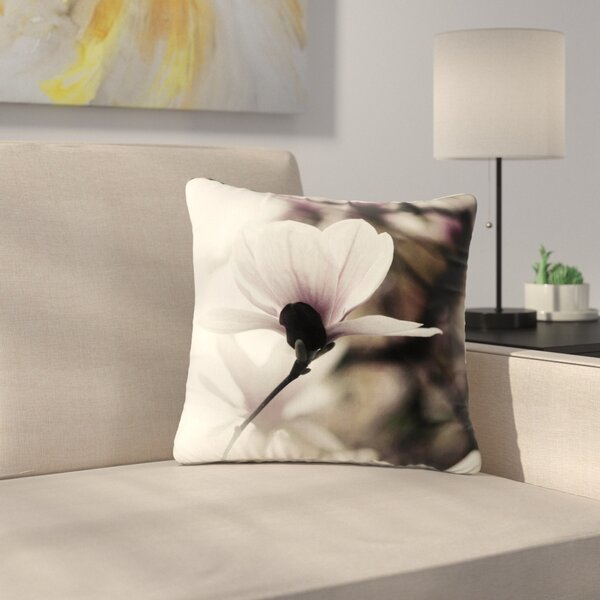 Vanilla Magnolia Floral Outdoor Throw Pillow by East Urban Home